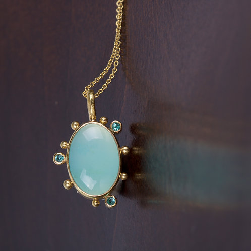 Peruvian Opal and Tourmaline Pendant (05180)