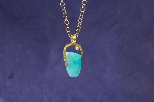 Peruvian Opal Diamond Pendant (01884)