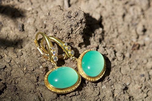 Chrysoprase and Diamond Earrings (05348)