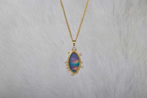 Opal Gold Pendant with Diamonds (03961)