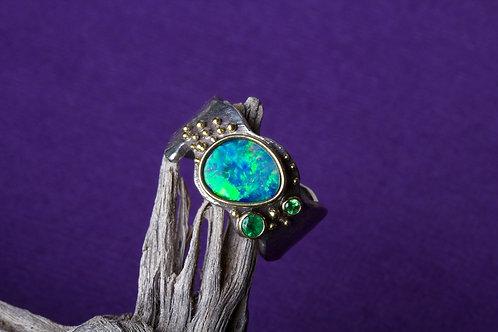 Opal Emerald Tsavorite Mixed Metal Ring (02579)