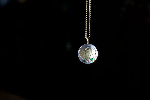 Mixed Metal Pendant with Emerald (06835)
