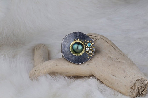 Tahitian Pearl Blue Zircon Ring (02740)