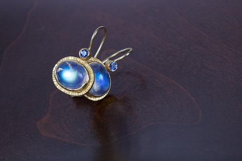 Moonstone and Sapphire Earrings (05195)