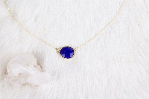 Lapiz Lazuli Gold Necklace (04127)
