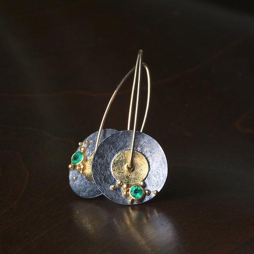 Emerald Mixed Metal Earrings (06735)