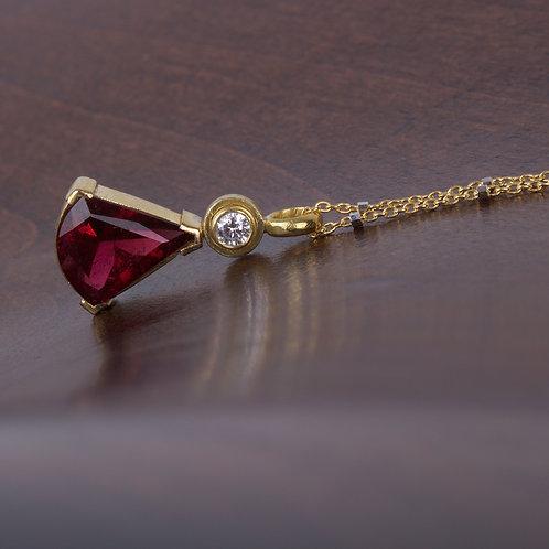 Pink Tourmaline and Diamond Pendant (05637)