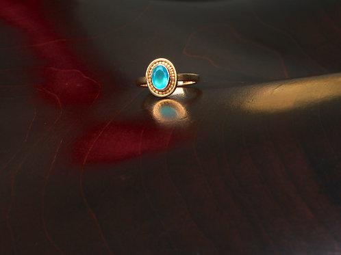 Peruvian Opal and Gold Granule Ring (07022)
