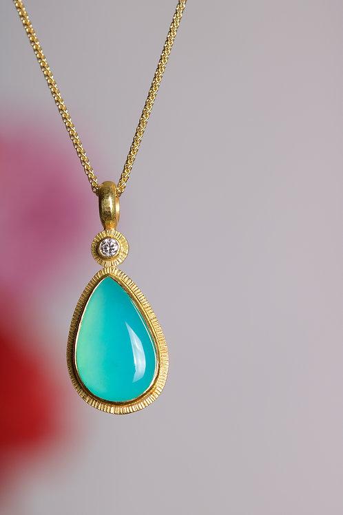 Peruvian Opal and Diamond Pendant (06221)