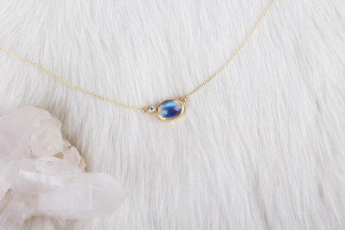 Diamond Moonstone Necklace (04228)