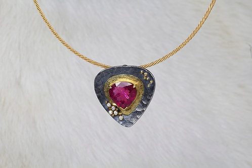 Rubellite Diamond Pendant (03279)