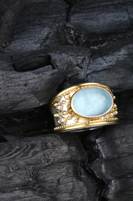 Aquamarine Diamond Ring (02897)