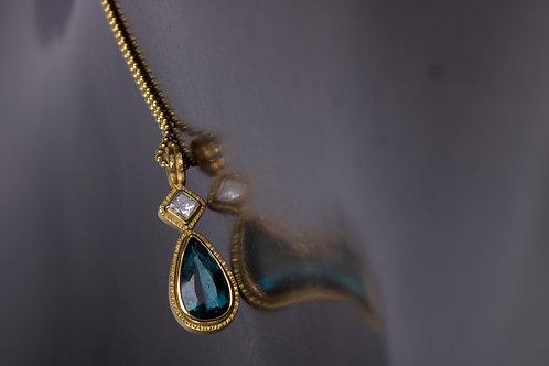 Tourmaline and Diamond Pendant (01326)