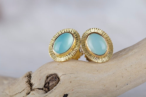 Peruvian Opal Stud Earrings (03174)