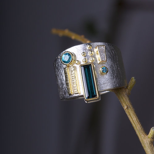 Tourmaline and Zircon Ring (05875)