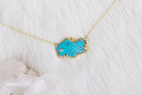 Gold Turquoise Necklace (04128)