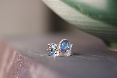 Moonstone and Zircon Ring (06738)
