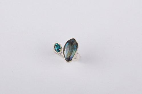 Labradorite and Blue Zircon Ring (04748)