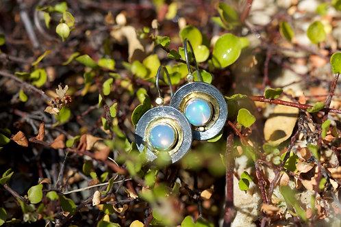 Ethiopian Opal and Mixed Metal Earrings (05350)