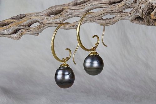 Tahitian Pearl Spiral Earrings (02911)