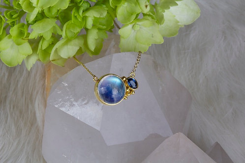 Moonstone Sapphire Necklace (02840)