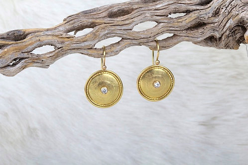 Gold Earrings with Diamonds (02913)