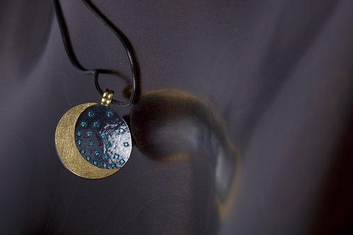 Moon and Blue Diamond Pendant (05175)