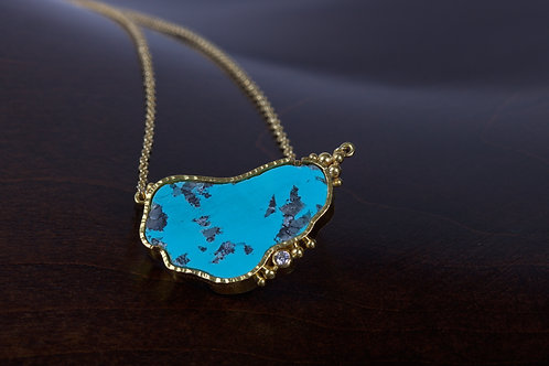 Turquoise Diamond and Gold Necklace (05088)