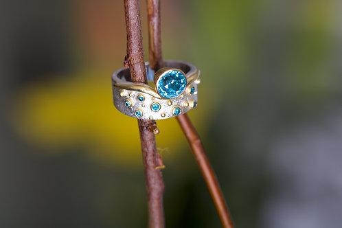 Blue Zircon and Diamond Ring (06194)