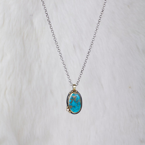Mixed Metals Turquoise Diamond Pendant (03192)