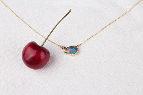 Opal Sapphire Tsavorite Necklace (04077)