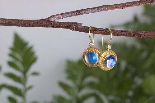 Moonstone and Gold Granule Earrings (06580)