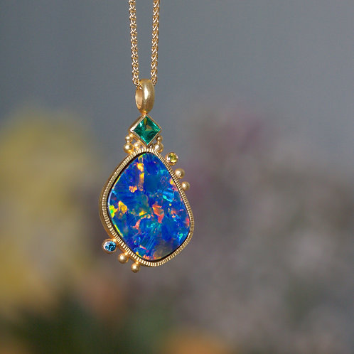Opal and Emerald Pendant (06826)