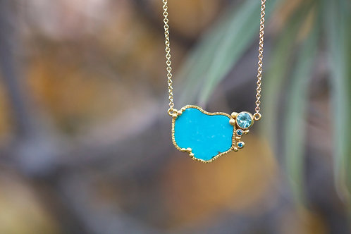 Turquoise and Apatite Necklace (06830)