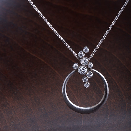 White Gold Hoop and Diamond Pendant (04229)