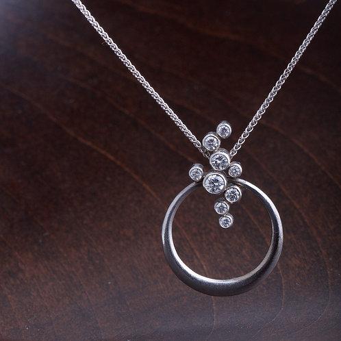 White Gold Hoop and Diamond Pendant (04229)