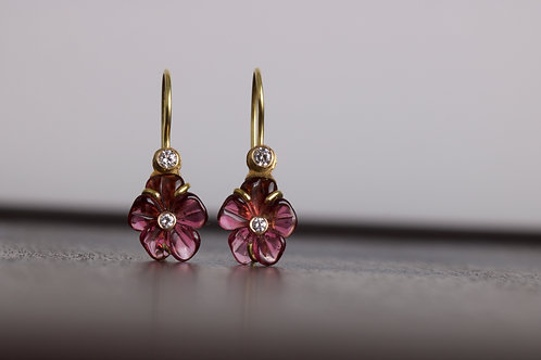 Tourmaline Flower Cut Earrings (05753)