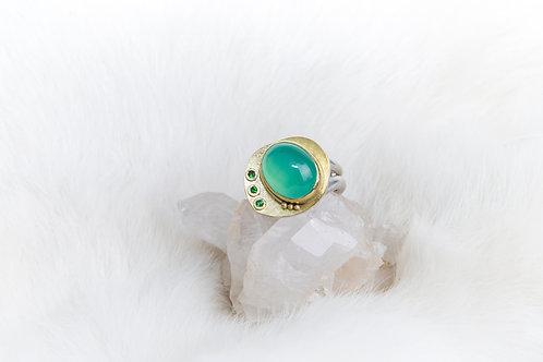 Chrysoprase Tsavorite Garnet Ring (03741)