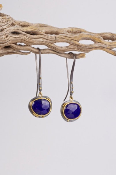 Mixed Metal Lapiz Lazuli Earrings (04211)