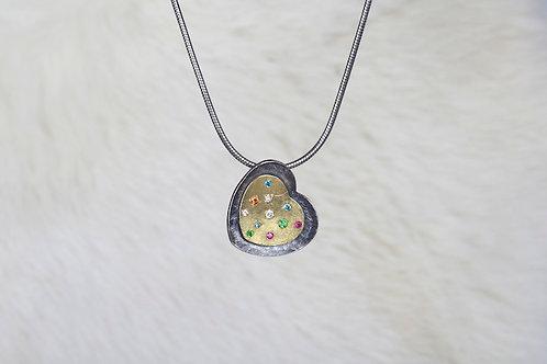 Multi-stone Heart Pendant (03273)