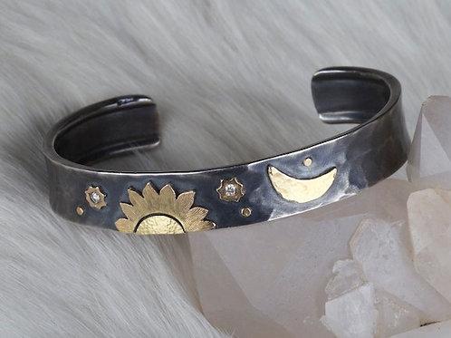 Mixed Metal Sun & Moon Bracelet (02157)