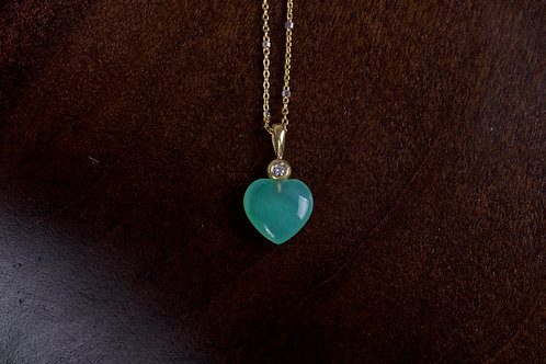 Chrysoprase Heart Necklace (04947)