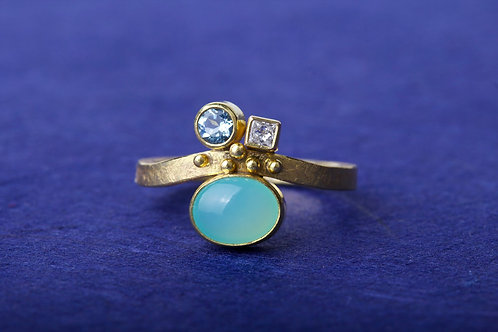 Peruvian Opal Aquamarine Diamond Ring (01891)