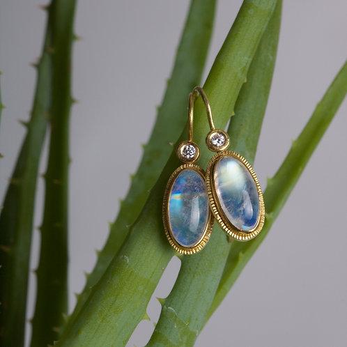 Moonstone and Diamond Earrings (06035)