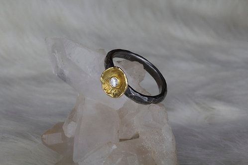 Gold and Oxidized Silver Diamond Ring (03065)