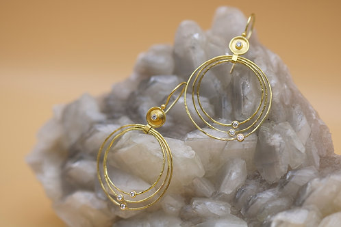Gold Dish Hoop Earrings (06624)
