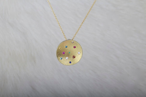 Multi Stone Gold Pendant (03293)
