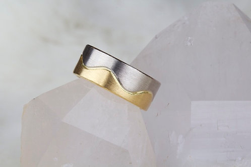 White and Yellow Gold Wedding Band (02926)
