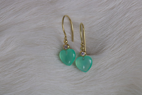 Chrysoprase Heart Earrings (04946)