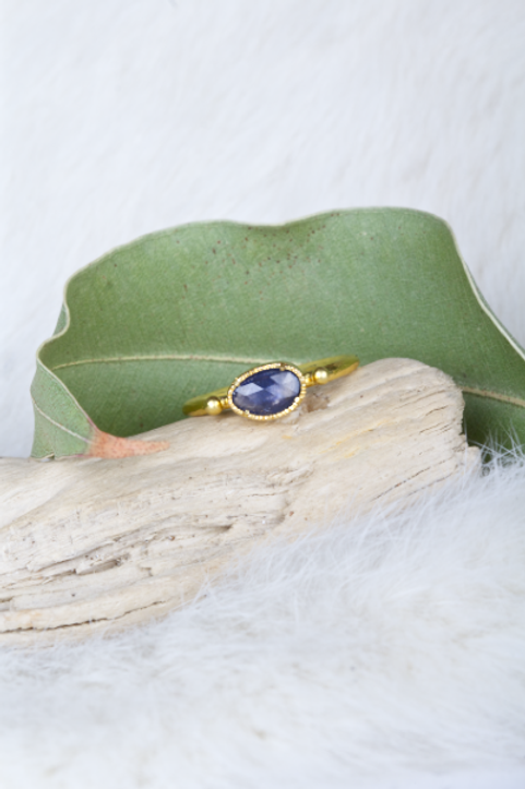 Blue Sapphire Gold Ring (04561)